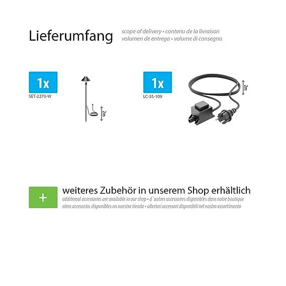 kalt-weiß 100lm IP65 LED Gartenleuchte Hastam schwarz mit Erdspieß für außen