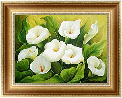 DIY Diamond Embroider The Beautiful lilies Round Diamond Painting Cross Stitch K