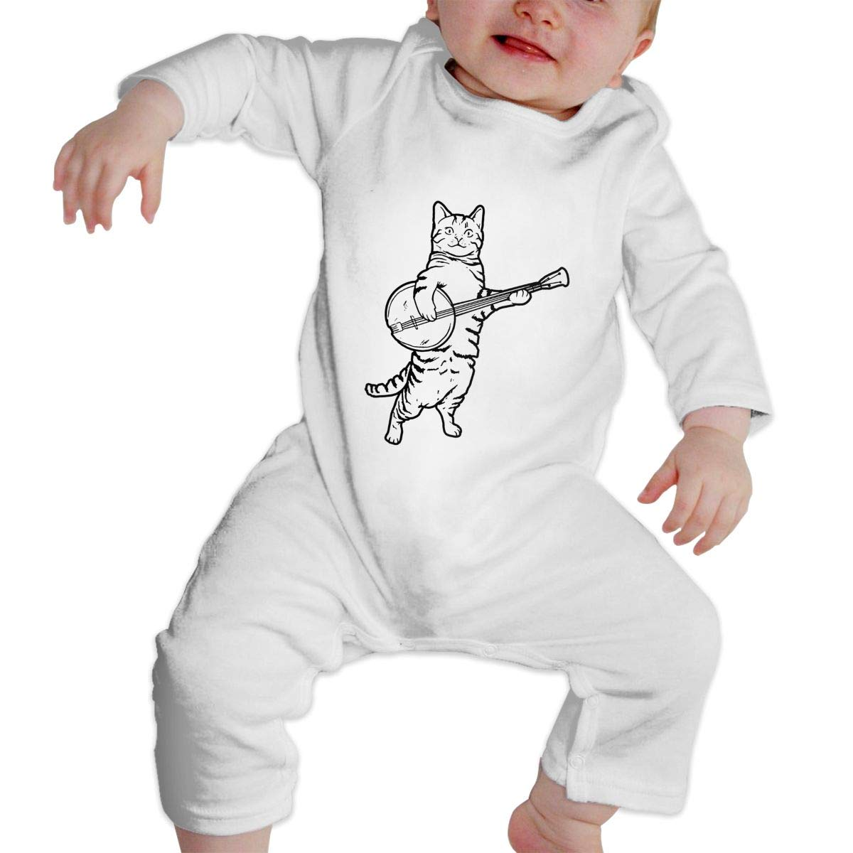 KAYERDELLE Banjo Cat Long-Sleeve Unisex Baby Romper for 6-24 Months Toddler