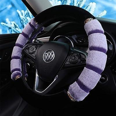 Fluffy Steering Wheel Cover for Winter Plush Warm Snug Universal Steering Wheel Cover for Women Men Fit Most of Car SUV (J3DA-Purple): Automotive