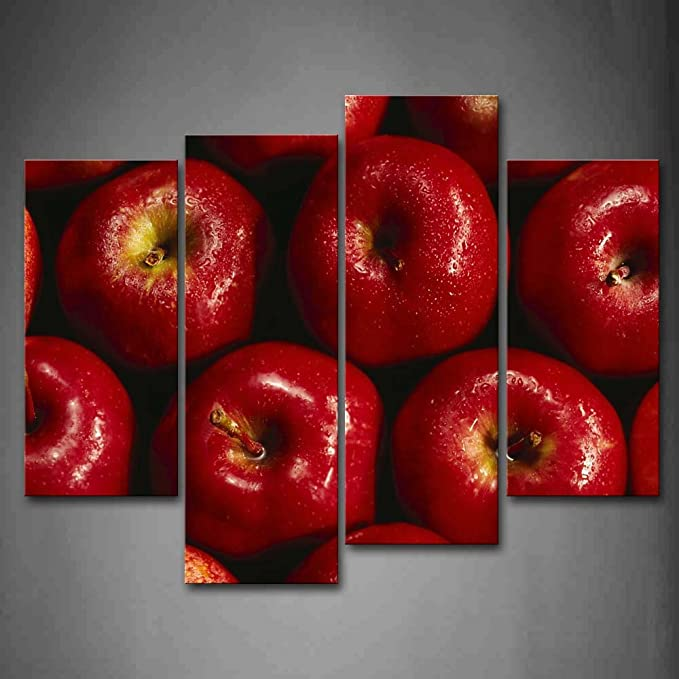 Red Apple Splash Kitchen CANVAS WALL ART Box Framed Print Picture