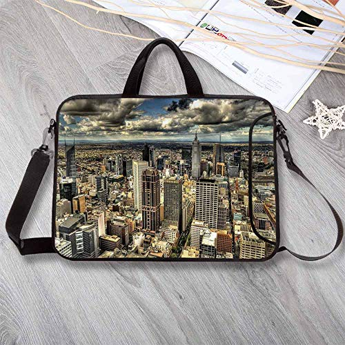Urban Neoprene Laptop Bag,Melbourne Cityscape Modern Australia Architecture Buildings Metropolis Dramatic Sky Laptop Bag for Office Worker Students,17.3