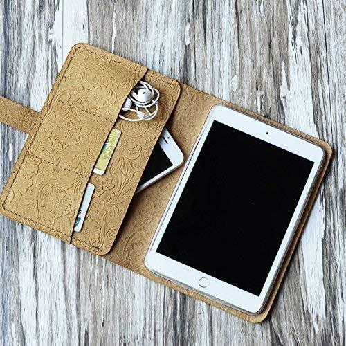 Genuine Italy Vintage Leather Handmade Case for Apple Ipad mini 3 / mini 2 / mini 1 / mini 4 / air/air 2 / Pro 9.7 / Pro 10.5 / 2017 new iPad 9.7 Luxury Tooled Leather Folio Cover (Tan Pattern)