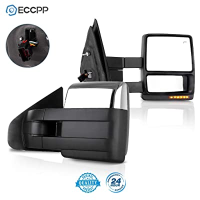 ECCPP Towing Mirrors Replacement fit for 2007-2014 Ford F150 Chrome Power Heated LED Turn Signal Puddle Lamp Cap Pickup Mirrors: Automotive