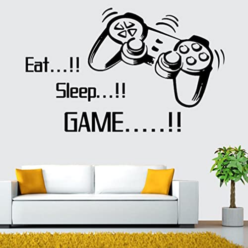 FriendGG Fashion Letter Wall Sticker, Eat Sleep Game Controller Gamepad  Video Game Wall Decal Boys