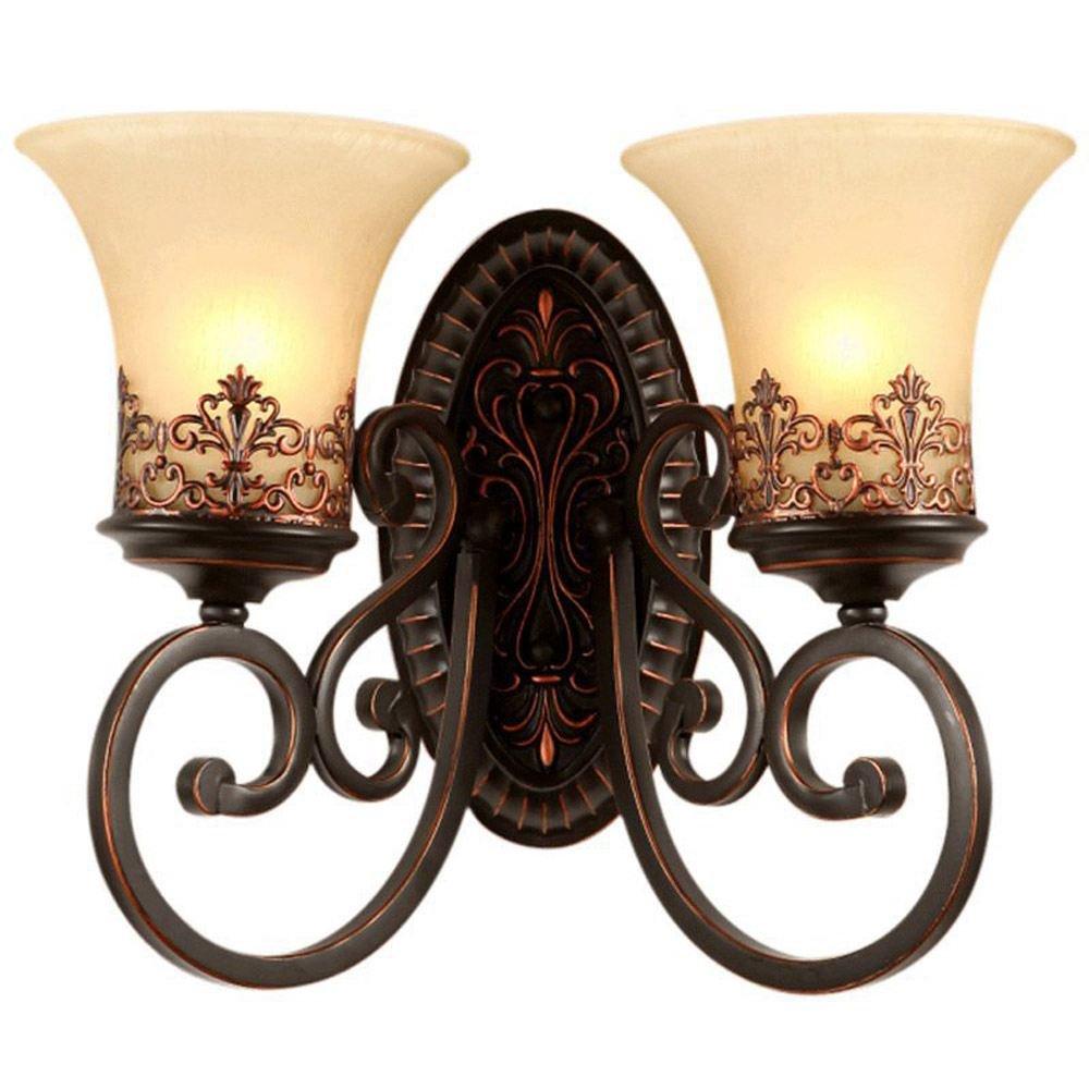 American Antik Flur Wandleuchten europäischen Schlafzimmer Nachttisch Wandleuchte Spiegel vor Wohnzimmer Wand Leuchten Antik 2 Heads