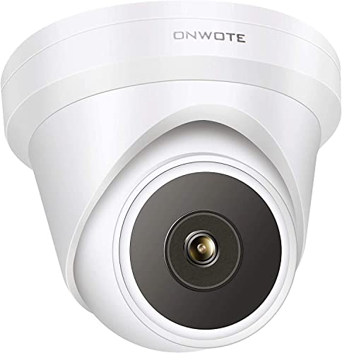 Audio ONWOTE 5MP HD IP POE Camera Outdoor Dome, Hikvision Compatible Onvif, 5 Megapixels 2592x 1944P Super HD Camera, 100ft IR, 90 Angle, IP66, Remote Access, Motion Alert, Work w ONWOTE PoE