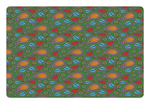 Ethnic Pet Mats for Food and Water by Ambesonne, Ethnic Image with Swirls Floral Details Paisley Design Fern Green Backdrop, Rectangle Non-Slip Rubber Mat for Dogs and Cats, Orange Blue and (Fern Swirl)
