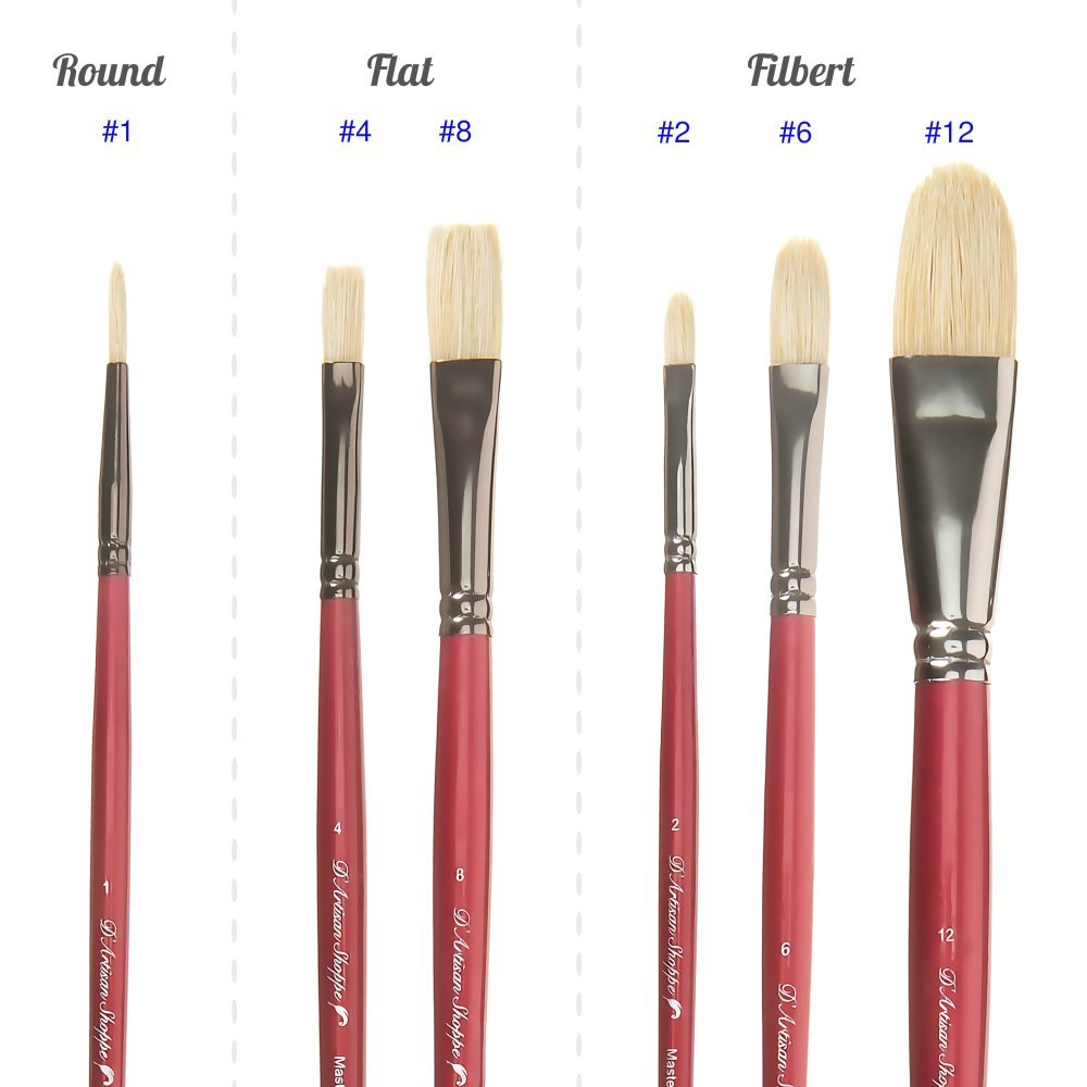 Oil Acrylic Paint Brushes 100% Natural Chungking Hog Hair Bristle in Portable Organizer Plastic Container. 6pc Filbert Flat and Round Paintbrush Set by D'Artisan Shoppe (Image #3)