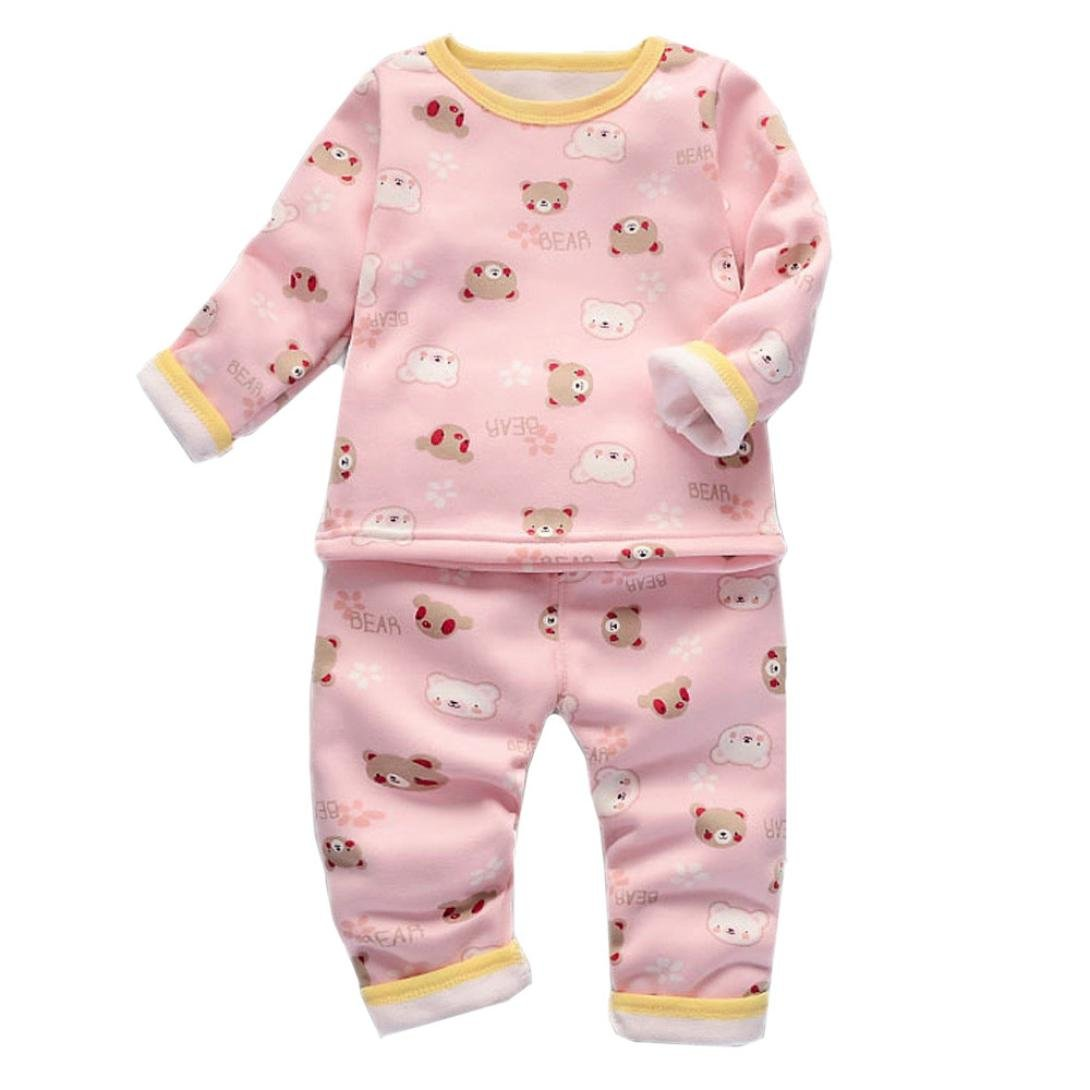 Voberry Fashion Baby Cute Boy Girl Cartoon Printed Round Collar Long Sleeve Pullover Tops+Pants Family Clothes Warm Clothing Autumn Winter Outfits for 0-3 Years Old