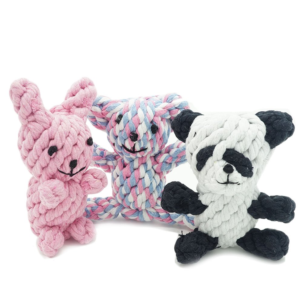 Jouets pour chien dentaire Teaser jouet à mâcher dents de nettoyage Corde Mâcher Nœud pour animal domestique jouer jouet LazyGOGO