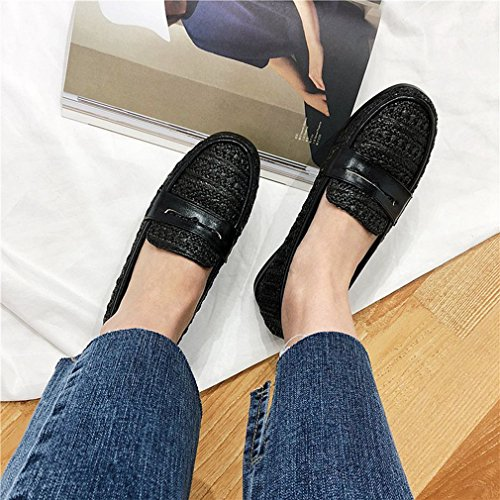 Giy Dames Klassieke Penny Loafers Zakelijke Flats Mocassin Vierkante Neus Instappers Casual Loafer Oxford Schoenen Zwart