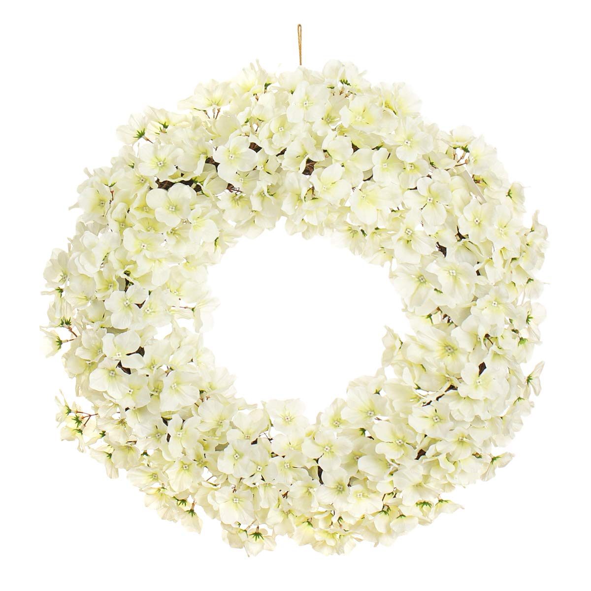 MIXNOVO Hydrangea Front Door Wreath for All Seasons 22 Inch, Stunning Spring Summer Wreath for Front Door Wall Window Party Décor, Beautiful Gift Box Included (White)