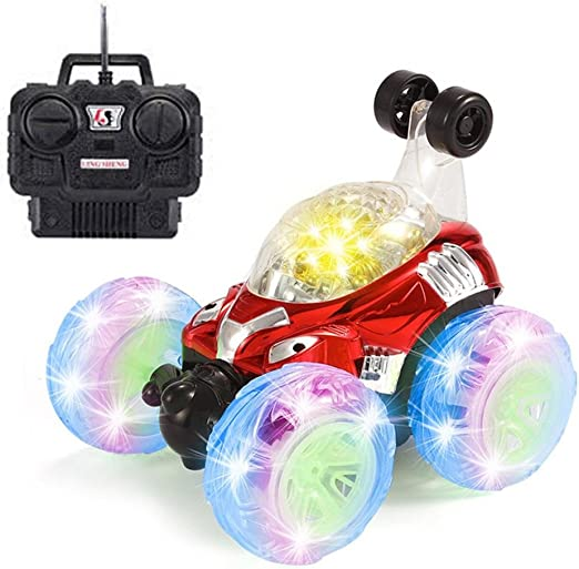 blue Remote Control Car WONTECHMI RC Stunt Car for Kids 4WD 2.4GHz 360 Degree Flips Double Sided Rotating Tumbling Racing Car with LED Lights RC Toys for Boys Girls The Best Gift