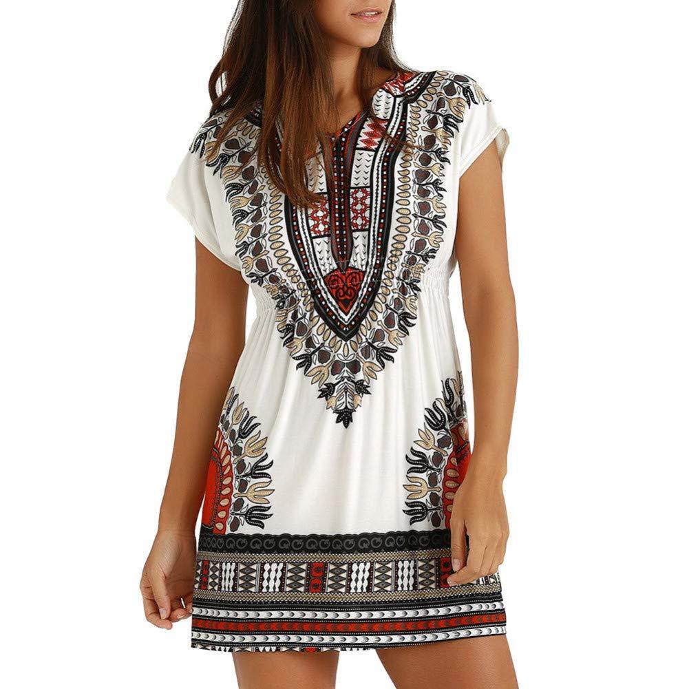 MBSDDH Dress Women Printed Vintage V Neck Short Sleeve Summer Vacation Beach Dresses