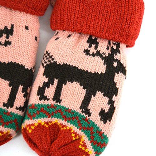 Christmas Addensare Mittens Deer Guanti invernali Winter Red Abby Kids Jacquard UfxxgvqIw