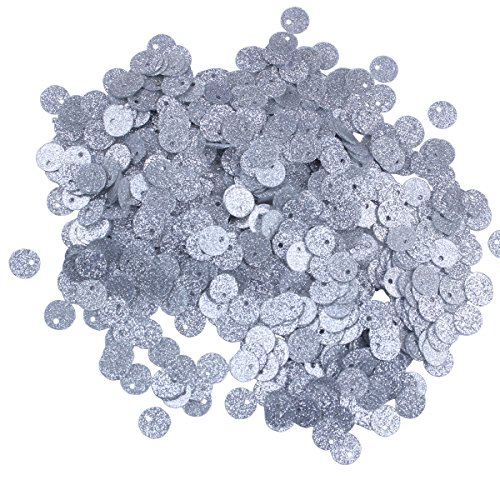 1500pcs 6mm Small Flat Round Metallic Glitter Silver Loose Sequins Spangles Side Hole for Embroidery, Applique, Arts, Crafts and Embellishment (Metallic Glitter Silver)