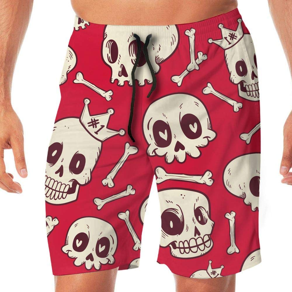 Skull Casual Summer Beach Board Shorts Pants Men Teens