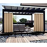Macochico Outdoor Curtains Noise Reducing Heat Insulated Windproof 84W x 84L Antique Bronze Grommet Wheat Drapes for Cabana Gazebo Garden Pergola Porch (1 Panel)