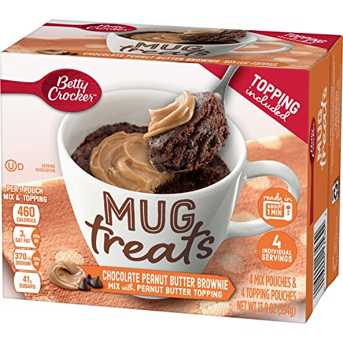 Betty Crocker Baking Mug Treats Chocolate Peanut Butter Brownie Mix with Peanut Butter Topping, 13.9 oz(us) ()