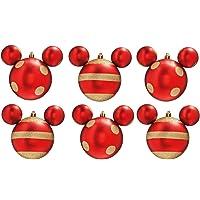 Bola Enfeite Árvore Natal Mickey 6 cm 6 peças Vermelho e Ouro, DISNEY