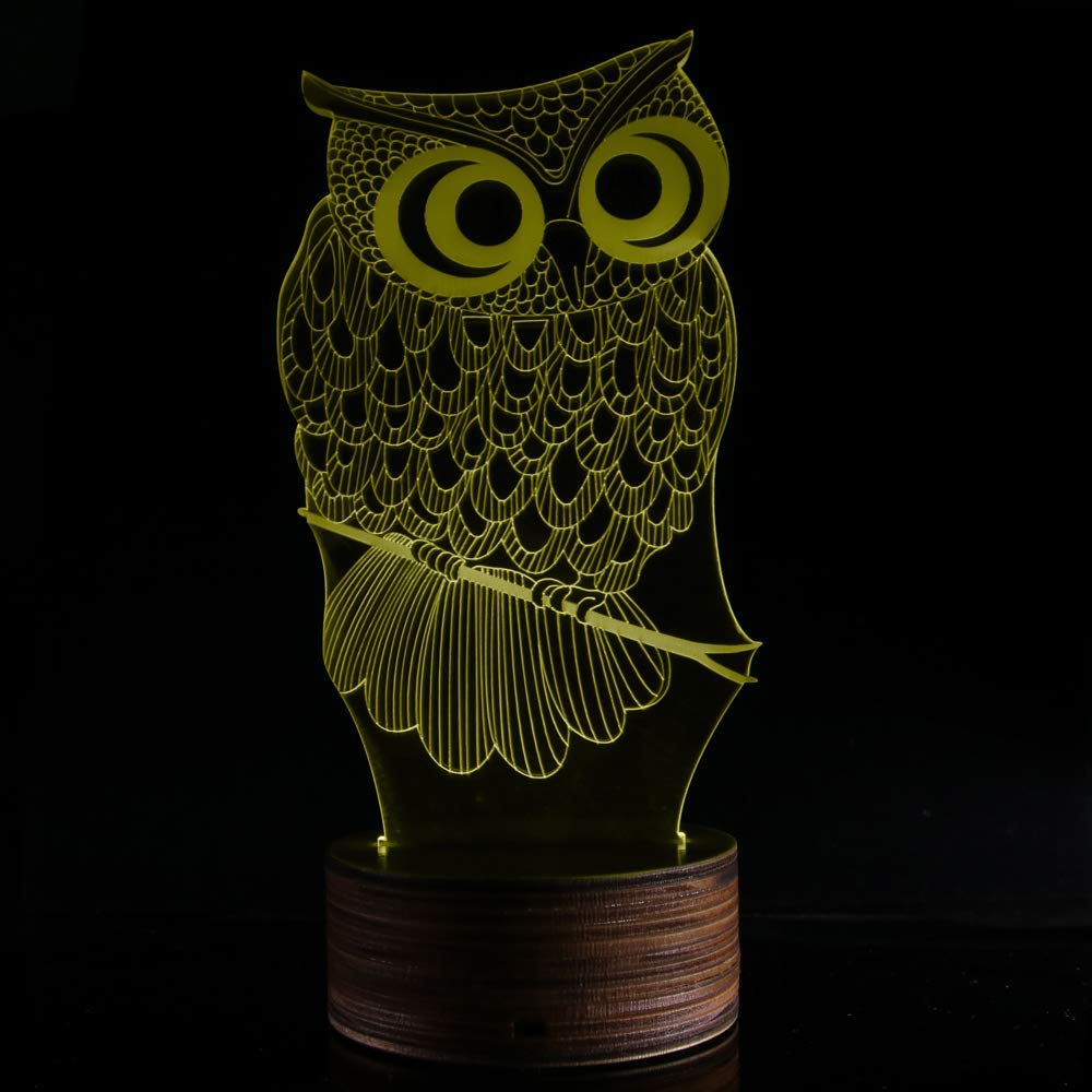 Novelty Lamp, 3D LED Lamp Optical Illusion Owl Night Light, USB Powered Remote Control Changes The Color of The Light, Furniture Desk Lamp Home Decoration Toy,Ambient Light by LIX-XYD (Image #7)