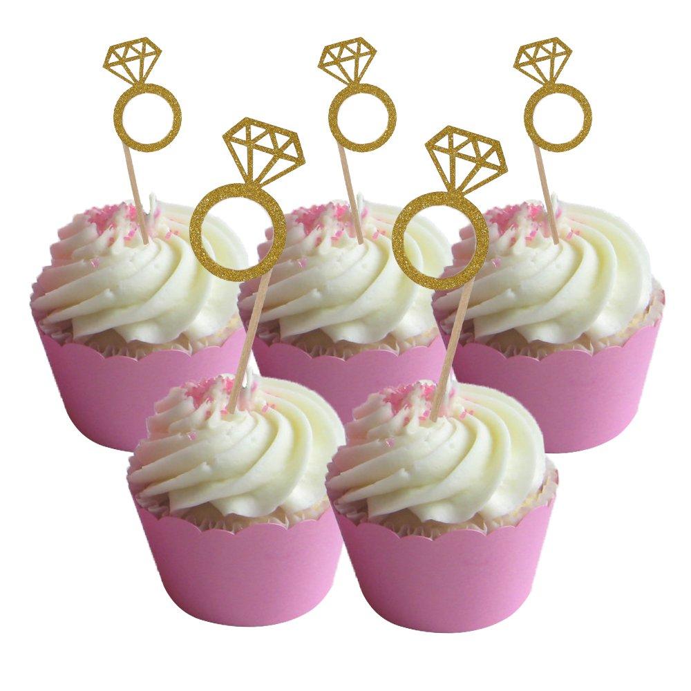 Amazon Hzonline Glitter Diamond Ring Cupcake Toppers Cakes Fruit Dessert Picks For Bridal Wedding Engagement Anniversary Birthday Valentines: Wedding Ring Cupcake Picks At Websimilar.org