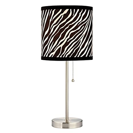 Pull chain table lamp with zebra drum shade zebra print lamp pull chain table lamp with zebra drum shade mozeypictures Choice Image