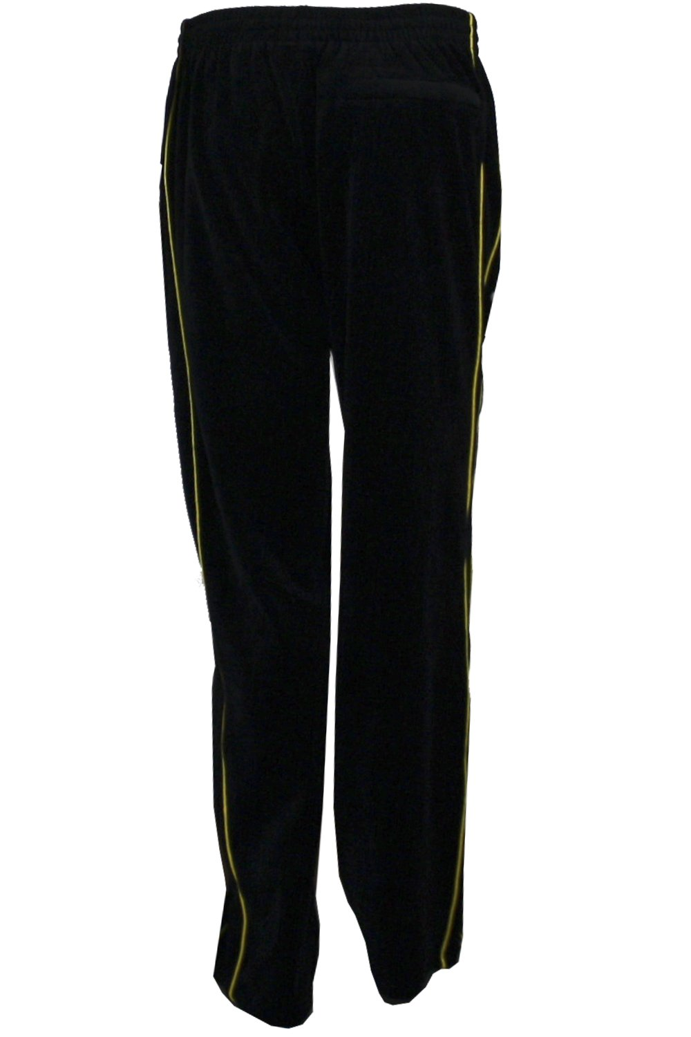 Mens Black Velour Tracksuit with Yellow Piping (Large) by Sweatsedo (Image #6)