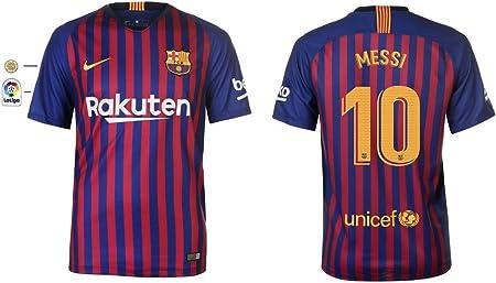 F.C. Barcelona 2018-2019 - Maglietta da Uomo Home La Liga Messi 10 ...