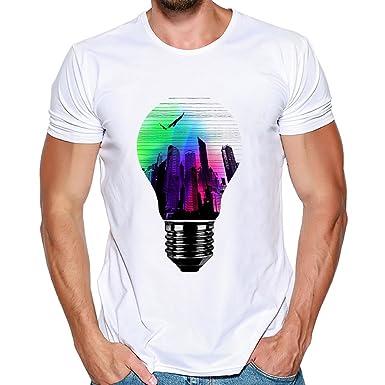 Camisas Manga Corta Hombre, Lanskirt Camisetas Hombre Originales Divertidas Blusas de Estampadas de Bombilla de Color PatróN Sudaderas Verano Tallas Grandes ...