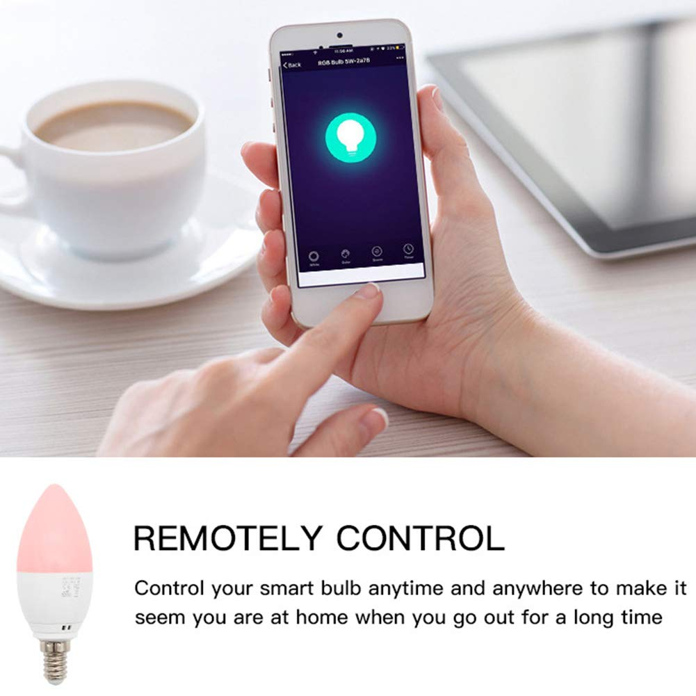 E14 Smart Light Bulb Candle Lamp 5W WiFi Bulb Support For Alexa And Google Home