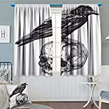 Scary Thermal Insulating Blackout Curtain Scary Movies Theme Crow Bird Sitting on a Human Old Skull Sketchy Image Patterned Drape For Glass Door 72''x84'' Charcoal Grey White