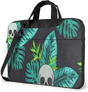 Turquoise Skull Tropical Leaf Laptop Bag Protective Case Computer Messenger Briefcase Women Men 15.6""