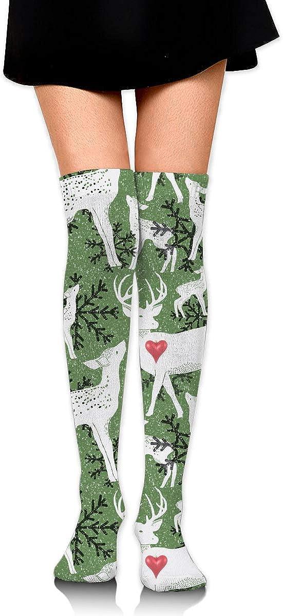 Deer Christmas Snowflake Long Socks For Women Best For Pregnancy And Travel Womens Knee High Socks 2 Pairs