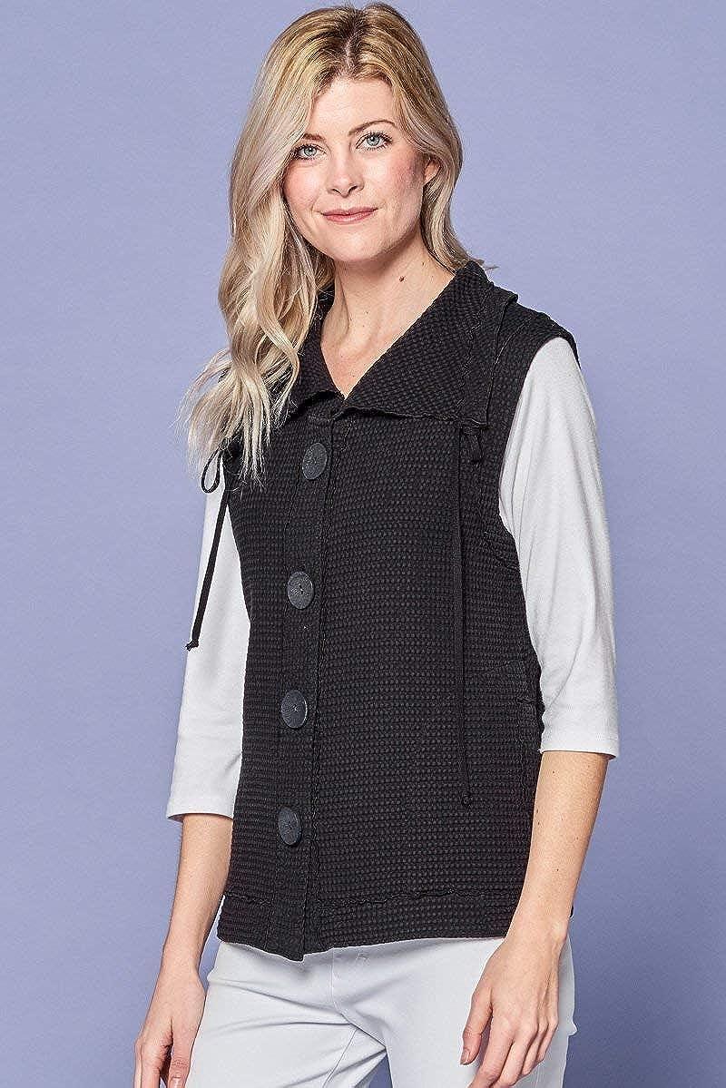 Focus Fashion Womens Cotton Waffle Drawstring Collar Vest