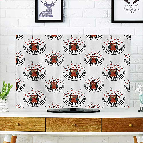(L-QN Protect Your TV Musician Pianist Owl with Headphes and Playing Mo Shaped Piano Clipart Protect Your TV W20 x H40 INCH/TV 40