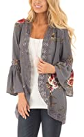Floral Season Women Casual Fall Kimono Bell Sleeve Hollow Out Lace Short Cardigan