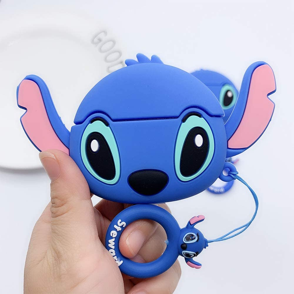 Disbch Case for Airpods Pro Protective Cover for Apple Airpods Pro 2019 Cute Cartoon Blue Big Ear Stitch Minion Design Soft Slim airpods pro Silicone Case Stitch