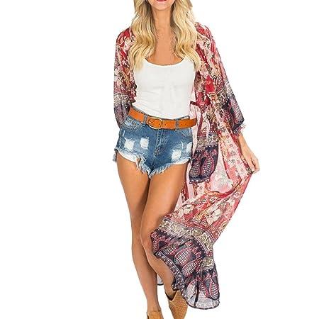 886a4278f6 Turkey Women Swimwear Cover Ups, Bohemian Ladies Floral Chiffon Kimono  Cardigans Blouse Swimsuit Sarongs Beachwear