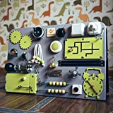 Shafa-4 Handmade Wooden Busy board, Clever Puzzles, Locks and Latches Activity Board European quality. (grey+green)