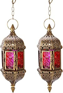 "GKanMore 2Pcs Hanging Candle Lantern Retro Moroccan Candle Holder Hollow Metal Glass Candle Holder Lantern with 15.7"" Hanging Chain for Home Patio Christmas Decorations (Bronze, Pack of 2)"