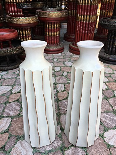 A Pair of Mango Wood Vase Hand-Crafted, Floor Vase 16 inches (No.0024) by WADSUWAN SHOP