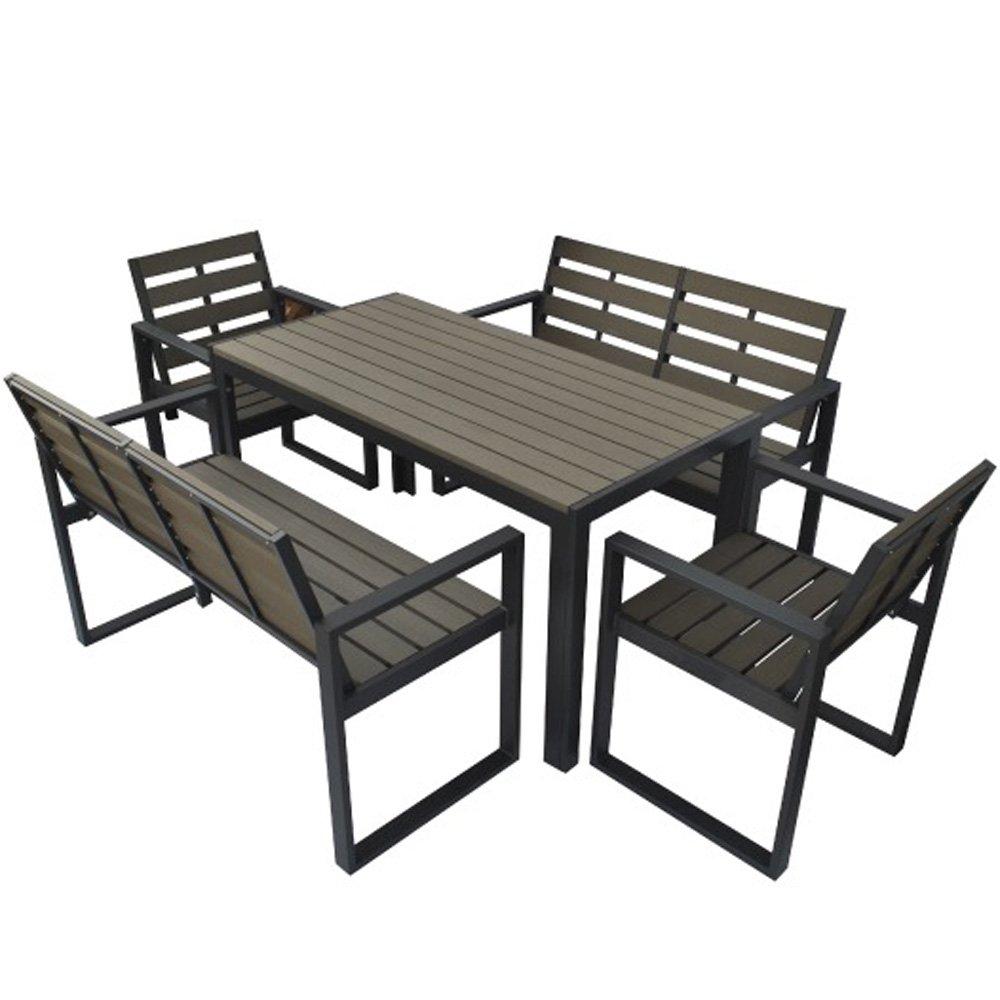 人工木テーブル長方形+人工木チェア2脚+背付ベンチ2台セット ダークブラウン B073P38ZGG