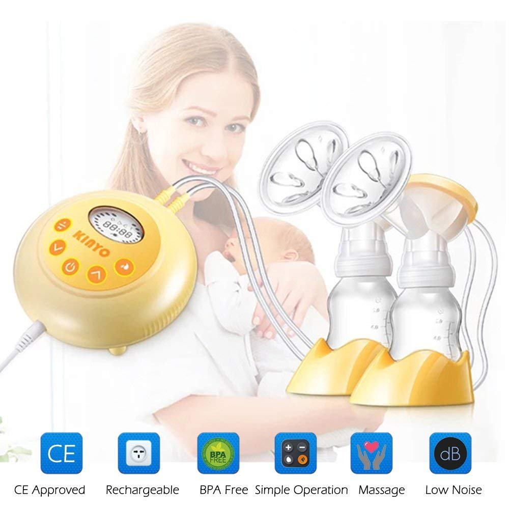 KINYO Double Electric Breast Pump, Portable Rechargeable Milk Pump, with LCD Screen, Automatic Massage Function, Bpa Free Hermano