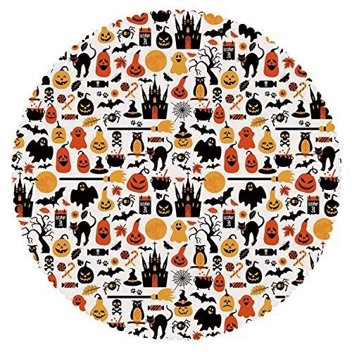 (iPrint Round Tablecloth [ Halloween,Halloween Icons Collection Candies Owls Castles Ghosts October 31 Theme Decorative,Orange Yellow Black ] Home Tablecloths)