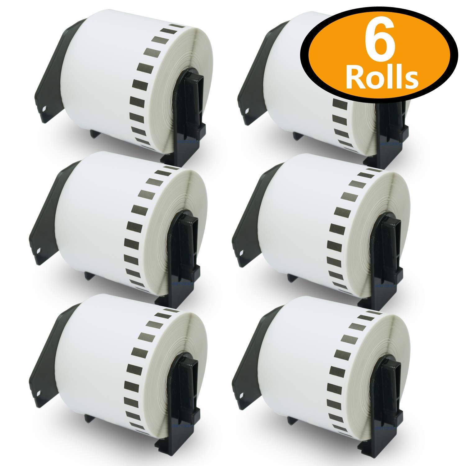 BETCKEY - 6 Rolls Compatible Brother DK-4205 Removable Continuous Labels 62mm x 30.48m(2-3/7'' x 100') with Refillable Cartridge Frame by BETCKEY