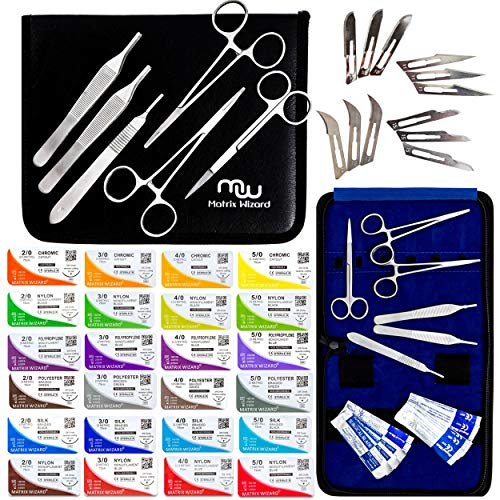 (Mixed Sterile Suture Threads with Needle + Training Tools (Absorbable: Chromic Catgut; Non-Absorbable: Nylon, Silk, Polyester, Polypropylene) - Medical, Nursing, and Veterinary Students Kit (43 Pack))