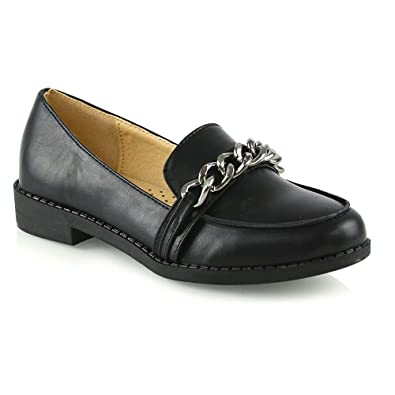 53c5b555974 ESSEX GLAM Womens Slip On Loafers Shoes Ladies Casual Chain Trim Work  School Pumps Size 3