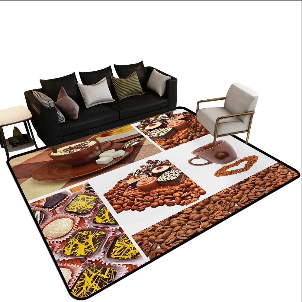 color03 W6'xL8' Indoor Floor mat,Tea and Coffee Cups Composition in Warm colors Flowers Tulips and Apples 6'6 x8',Can be Used for Floor Decoration